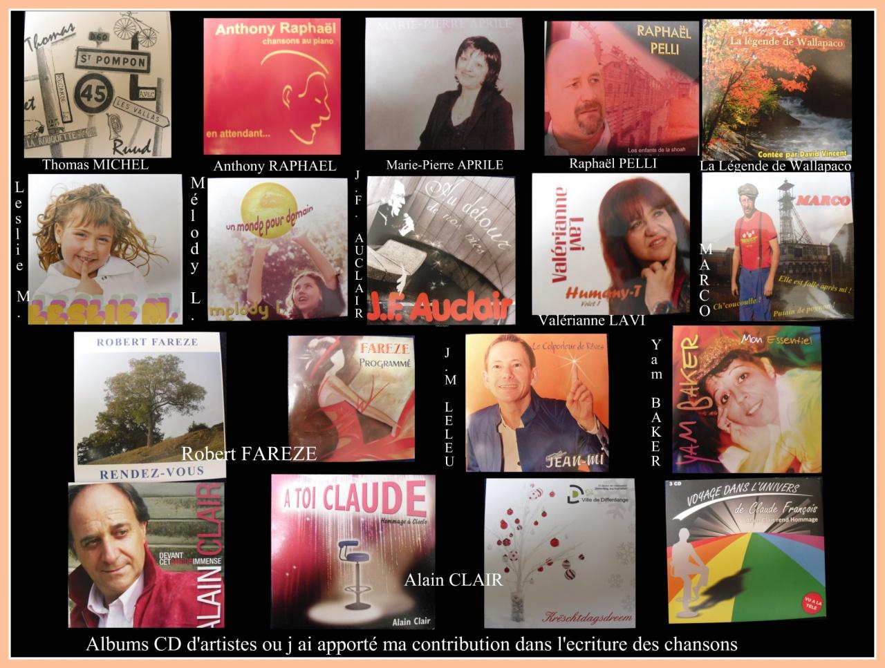 collaboration à l'ecriture des chansons sur CD