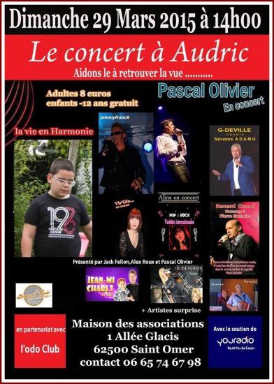 Concert pour audric le 29 mars a st omer 62